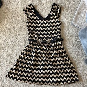 Candie's black and gold dress with stretchy belt